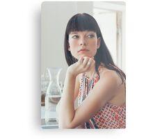 Pretty Woman Looking Away Metal Print