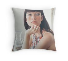 Pretty Woman Looking Away Throw Pillow