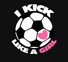 I kick like a girl girl's soccer team Women's Fitted Scoop T-Shirt