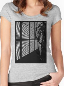 """Sky"" Skyscraper Blinded Noir Women's Fitted Scoop T-Shirt"