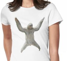 Sloth Hangs Around Your Neck :3 Womens Fitted T-Shirt