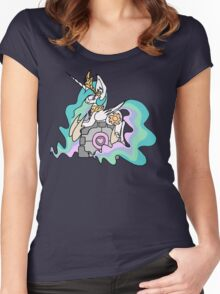 Celestia and her companion cube Women's Fitted Scoop T-Shirt