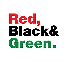Red, Black & Green. Photographic Print