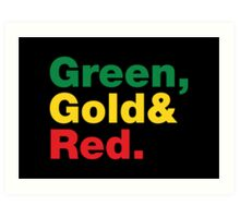 Green, Gold & Red. Art Print