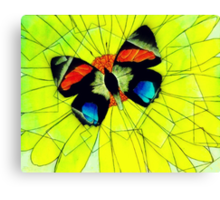 Butterfly on Flower Oil Pastel Canvas Print