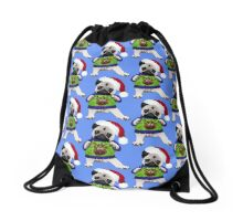 Super Cute Pug in an Ugly Sweater Drawstring Bag