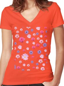 Mixture of Roses and Other Flowers Women's Fitted V-Neck T-Shirt