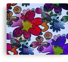 Retro Trippy Flowers-Dark Canvas Print
