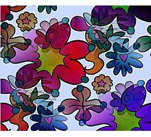 Retro Trippy Flowers-Dark Photographic Print