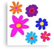 Retro Solid Flowers-Cooltones Canvas Print