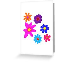 Retro Solid Flowers-Cooltones Greeting Card