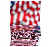 American Flag Water Drop Poster