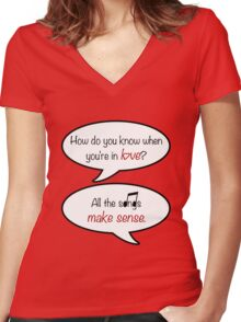 how do you know when you're in love? Women's Fitted V-Neck T-Shirt