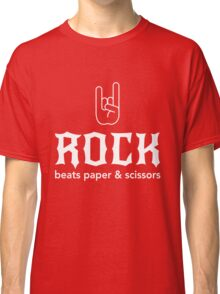Rock beats paper and scissors Classic T-Shirt