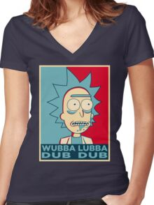 RICK SANCHEZ WUBBA LUBBA DUB DUB Women's Fitted V-Neck T-Shirt