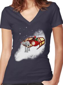 Walking in a Winter Vaderland Women's Fitted V-Neck T-Shirt