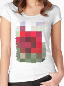Red Rose Edges Abstract Rectangles 3 Women's Fitted Scoop T-Shirt