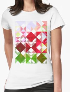 Red Rose Edges Abstract Triangles 1 Womens Fitted T-Shirt