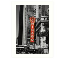 Red Chicago Theatre Sign Black and White Chicago Photography Art Print