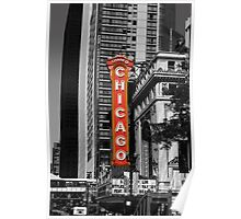 Red Chicago Theatre Sign Black and White Chicago Photography Poster