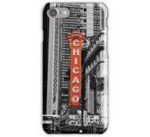 Red Chicago Theatre Sign Black and White Chicago Photography iPhone Case/Skin