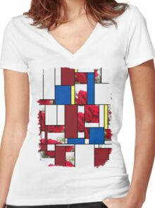 Red Rose Edges Art Rectangles 4 Women's Fitted V-Neck T-Shirt