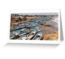 Boats at Engabao in Ecuador Greeting Card