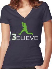 Russell Wilson Believe (3elieve) Green Jump Pass T-shirt Women's Fitted V-Neck T-Shirt