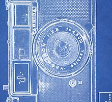 Ultra Retro Blue Print Camera Phone Case by pearloil