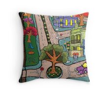 Sunday Morning Country Town  Throw Pillow