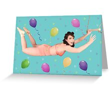 The Flying Trapeze Lady Greeting Card