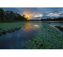 Sunset over Lake Kurwongbah. Queensland. Photographic Print