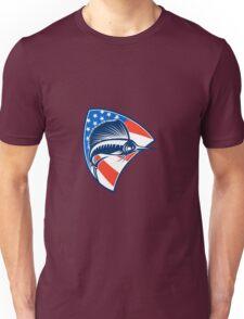 Sailfish Fish Jumping American Flag Shield Retro Unisex T-Shirt