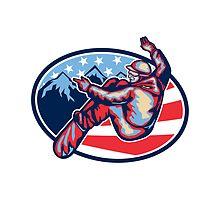 American Snowboarder Jumping Snowboard Retro by patrimonio