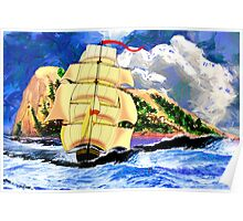 The Golden Clipper in Rough Sea at Gibraltar 2 Poster