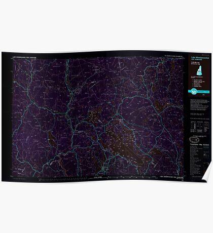 USGS TOPO Map New Hampshire NH Lake Winnipesaukee 460055 1986 100000 Inverted Poster