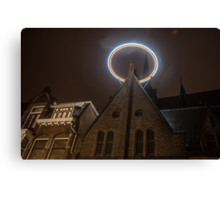 Night Lights of Utrecht. Halo at Willibrorduskerk. Netherlands Canvas Print