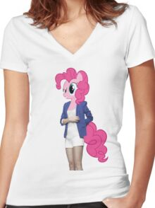 Pinkie Pie Woman Women's Fitted V-Neck T-Shirt