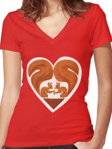 Squirrel Lovers Women's Fitted V-Neck T-Shirt
