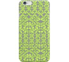 Ikat Lace in Lime Green on Grey iPhone Case/Skin