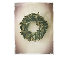 Antique Look Wreath of Dried Bay Leaves Photographic Print