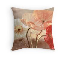 Poppies in Red, White & Peach Throw Pillow