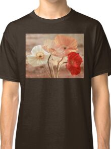 Poppies in Red, White & Peach Classic T-Shirt