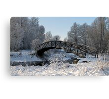 Bridge Snow Scene Canvas Print