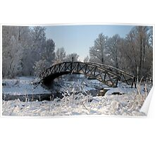 Bridge Snow Scene Poster