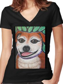 Gracie the Staffy T-shirt Women's Fitted V-Neck T-Shirt