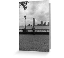 Man looking at Skyscraper Greeting Card