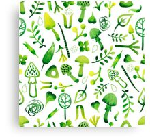 - Green watercolor mushrooms pattern - Canvas Print