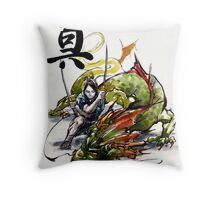 Samurai and Dragon Sumie Style with calligraphy Truth Throw Pillow