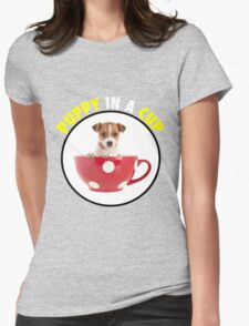 Puppy In A Cup Womens Fitted T-Shirt